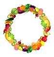 fruits and vegetables are collected in a wreath vector image vector image