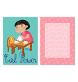 girl power kids postcard template set vector image vector image