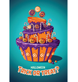 Halloween vintage poster Trick or treat Cake and vector image vector image