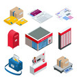 isometric set post office postman envelope vector image vector image