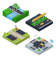 isometric urban roads with railway crossroad vector image