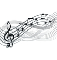 Musical notes staff background on white vector image vector image