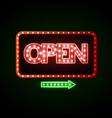 neon sign open vintage electric signboard vector image vector image