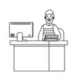 old man in a desk black and white vector image vector image
