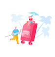 people packing suitcase for summer vacation trip vector image