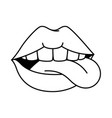 pop art lips with tongue out vector image vector image