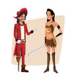 poster with couple pirate man and indian warrior vector image vector image