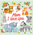 poster with cute animals mother and baby vector image