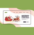 santa riding sledge with reindeers happy new year vector image