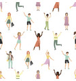 seamless pattern with happy people flat vector image vector image