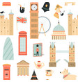 seamless pattern with london ladmarks vector image vector image