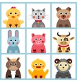 set nine farm animals vector image