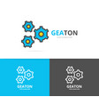 simple pinion gear wheel mechanism logo design vector image