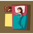 Sleeping girl or woman at bed vector image vector image