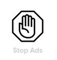 stop ads blocking icon editable line vector image vector image