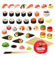 sushi and rolls gunkan temaki and inari ikura vector image
