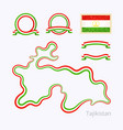 tajikistan - outline map and ribbons vector image vector image