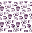 tea and coffee pattern doodle cups seamless vector image