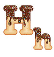 tempting typography font design 3d donut letter h vector image vector image