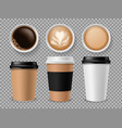 top view coffee cup espresso and latte or vector image vector image