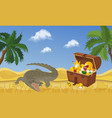 treasure island with chest and gold coins and vector image vector image