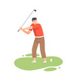 young man swinging with golf club male golfer vector image