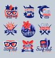surfing club logo templates set surf club emblem vector image
