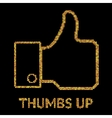 gold of Thumb Up icon sumbol vector image