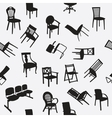 Big set of home chair silhouettes seamless pattern vector image