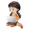 A girl with a laptop vector image vector image