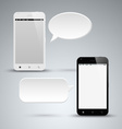 Abstract black and white smart phone with dialog vector image