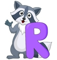 Alphabet R with raccoon cartoon vector image vector image