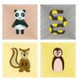assembly flat shading style icons panda bear snake vector image vector image
