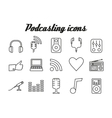 Audio podcasting icons vector image
