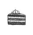 birthday cake cutaway piece fruit dessert vector image