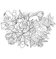 black and white sketch on a theme of love bouquet vector image vector image