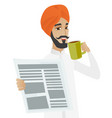 businessman drinking coffee and reading newspaper vector image vector image