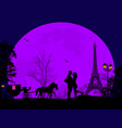carriage and lovers at night in paris vector image vector image