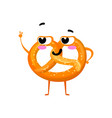 cartoon character pretzel smiling vector image vector image