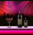 cocktail on bar counter vector image vector image