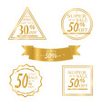collection of golden sale discount vector image vector image