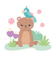 cute bear and parrot flowers grass cartoon animals vector image vector image