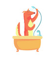 cute cartoon fox taking a shower red fox washing vector image vector image