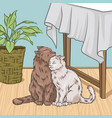 cute cats hugging while sitting next to a table vector image