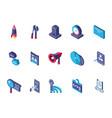 data internet technology isometric icons set vector image