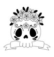 day dead floral skull flowers and ribbon vector image vector image