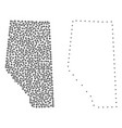 dotted contour map of alberta province vector image
