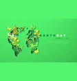 earth day green paper cut leaf world map template vector image vector image