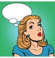 Emoji retro think girl emoticons vector image
