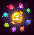 fantasy cartoon solar system with colorful candies vector image vector image